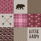 Little Lady - Wholecloth Quilt - Pink/Brown Bear - WWCQ12