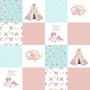Boho7 - Stay Wild//Deer//Teepee - Wholecloth Quilt - Coral/Blue