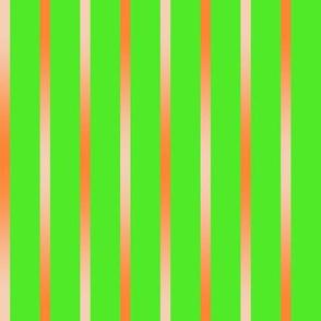 BYF8  -  Orange Gradient Stripes on Lemon Lime Green