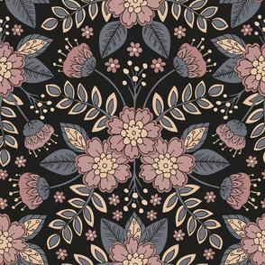 Blue-Gray, Mauve, Pink, Peach & Black Floral Pattern