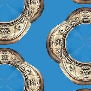Turquoise Octagon Scroll on Blue