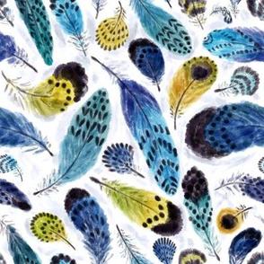 "Boho Parrots' Feathers (white) 8"""