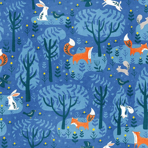 Foxes in the emerald forest in blue
