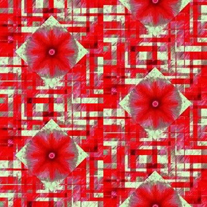 BYF9 - Medium - Scattered Contemporary Plaid with Floral Medallions iin Poinsettia Red and Sage Green