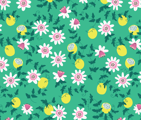 Passion fruit vines in green fabric by tatiabaurre on Spoonflower - custom fabric