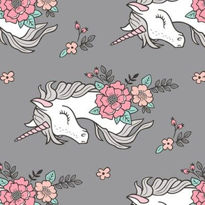 Dreamy Unicorn & Vintage Boho Flowers on Grey Rotated