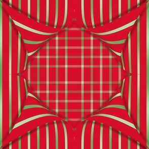 BYF9 - Striped Pinwheel Pull-a-Way on Open Weave Window Pane Plaid in Poinsettia Red and  Green Gradient