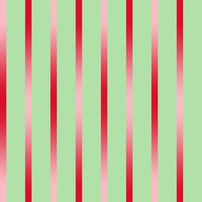 BYF9 - Red Poinsettia Gradient Stripes on Pastel Green