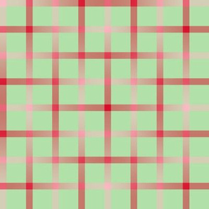 BYF9 - Disappearing Window Pane Plaid in Poinsettia Red Gradient and Pastel Green