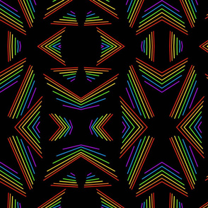 retro rainbow lines on a black background