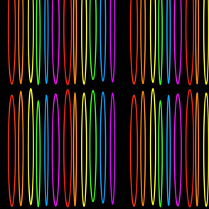 Long rainbow colored ovals on a black background