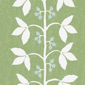 Custom Anne Berry Vines Green Textured