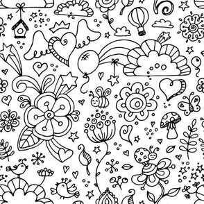 flower land doodle coloring
