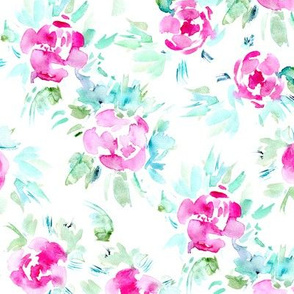 Peonies bloom • watercolor tender pattern