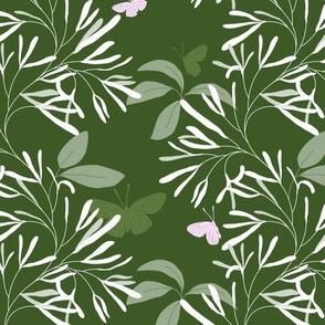 Retusa Fringe hunter green pink