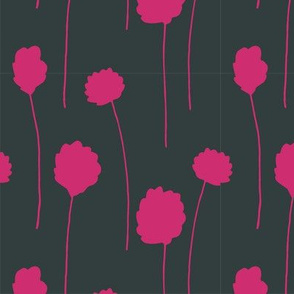 Cottongrass in Bold Hot Pink and Black