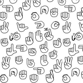 Small Scale Tossed Sign Language ASL Alphabet on Black