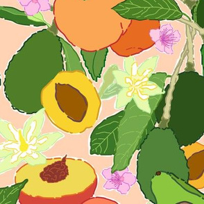 Avocado + Peach Stone Fruit Floral in Nectarine