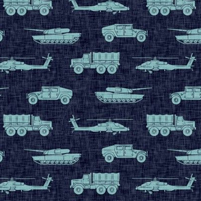 military vehicles - army - blue on navy - LAD19