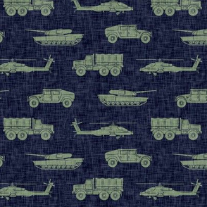 military vehicles - army - green on navy - LAD19
