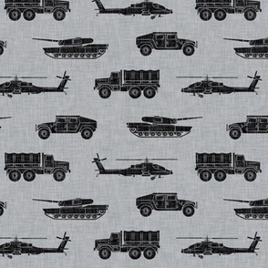 military vehicles - army - black on grey - LAD19