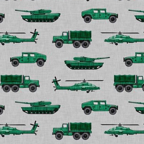 military vehicles 2 - army - green on grey - LAD19