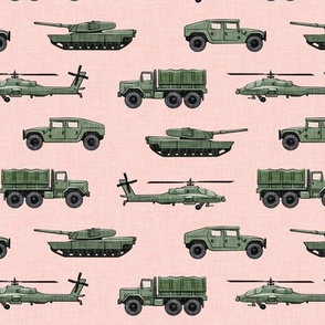 military vehicles 2 - army - green on pink - LAD19