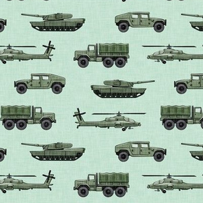 military vehicles 2 - army - green on mint - LAD19