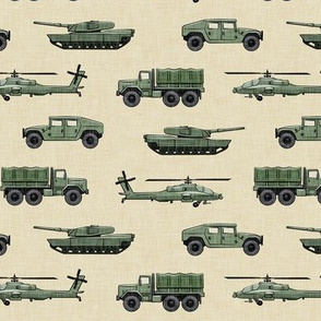 military vehicles 2 - army - green on light tan - LAD19