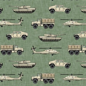 military vehicles 2 - army - tan on green - LAD19