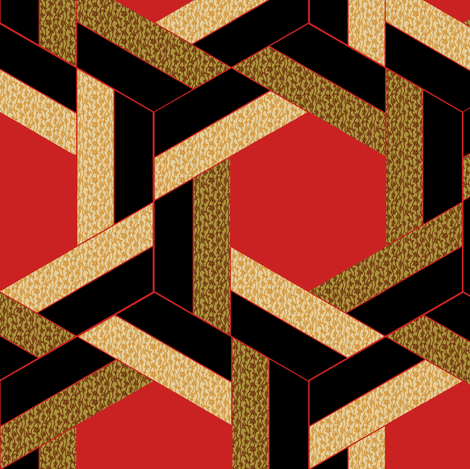 Braided Black Beige Red and Bronze Hexagons fabric by eclectic_house on Spoonflower - custom fabric