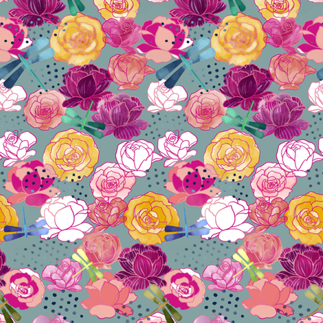 Maximalist garden small scale fabric by mrshervi on Spoonflower - custom fabric