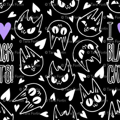 I Love Black Cats - black with purple