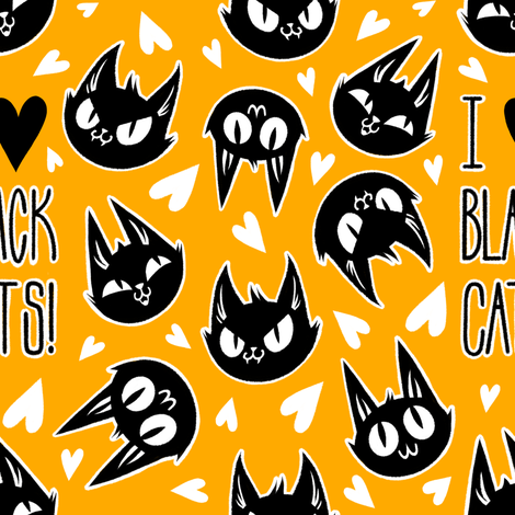 I Love Black Cats - Orange fabric by blacklilypie on Spoonflower - custom fabric