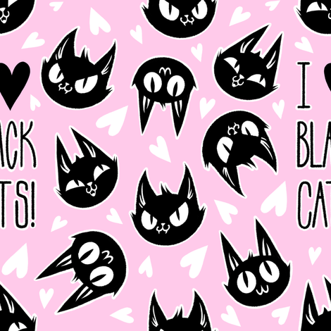 I Love Black Cats - pink fabric by blacklilypie on Spoonflower - custom fabric