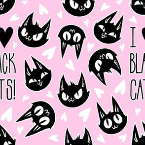 I Love Black Cats - pink