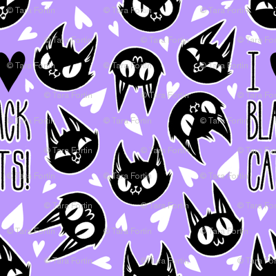 I Love Black Cats - purple