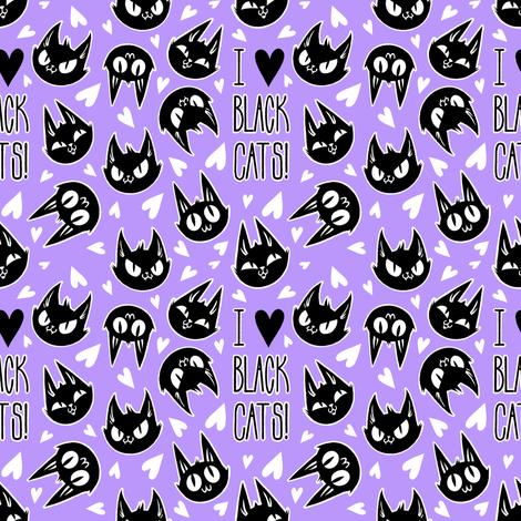 I Love Black Cats - purple fabric by blacklilypie on Spoonflower - custom fabric