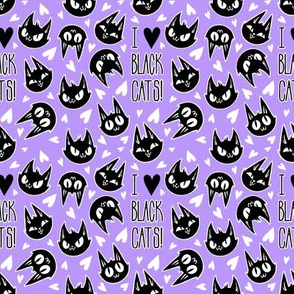 I Love Black Cats - purple