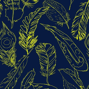 Fancy Feathers // Chartreuse on Navy