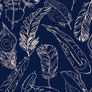 Fancy Feathers // Peachy Tan Neutral on Navy