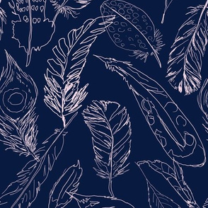 Fancy Feathers // Blush on Navy
