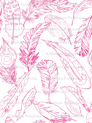 Fancy Feathers // Hot Pink on White