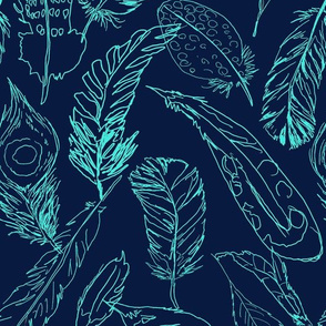 Fancy Feathers // Turquoise on Navy