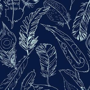 Fancy Feathers // Mint on Navy