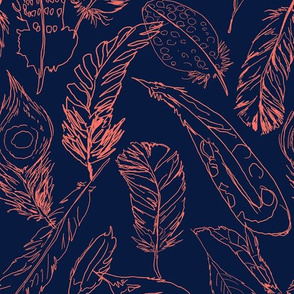 Fancy Feathers // Living Coral on Navy