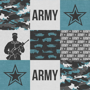 Army - Patchwork fabric - Soldier Military -  grey and blue - LAD19