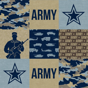 Army - Patchwork fabric - Soldier Military -  tan and blue - LAD19