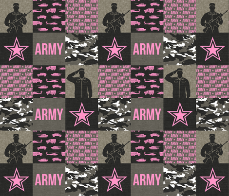 Army - Patchwork fabric - Soldier Military -  pink  - LAD19 fabric by littlearrowdesign on Spoonflower - custom fabric