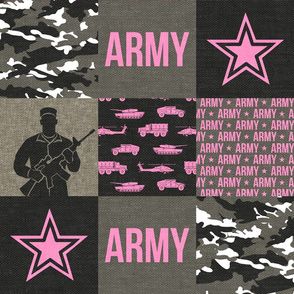 Army - Patchwork fabric - Soldier Military -  pink  - LAD19